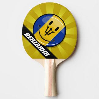 Bandera sonriente redonda brillante de Barbados Pala De Tenis De Mesa