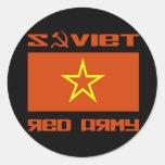 Bandera soviética de la estrella del ejército rojo etiquetas redondas