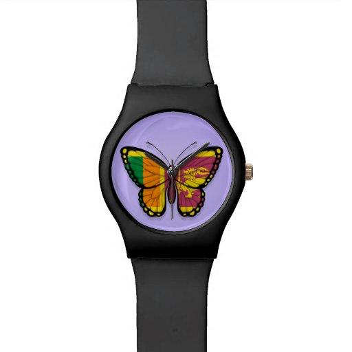 Bandera srilanquesa de la mariposa en púrpura relojes