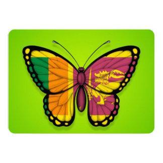 """Bandera srilanquesa de la mariposa en verde invitación 5"""" x 7"""""""