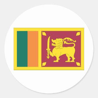 Bandera srilanquesa pegatina redonda