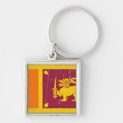 Bandera srilanquesa rascada y rasguñada llaveros personalizados