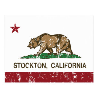 Bandera Stockton del estado de California Tarjeta Postal