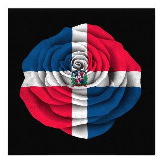 Bandera subió de la República Dominicana en negro Anuncio Personalizado