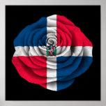 Bandera subió de la República Dominicana en negro Impresiones