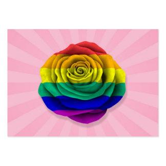 Bandera subió del orgullo gay del arco iris en ros tarjetas de visita grandes