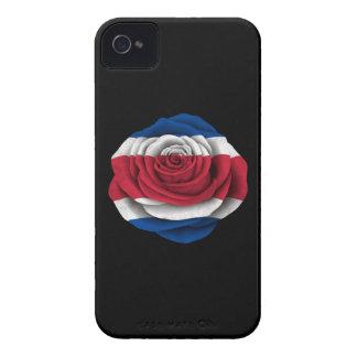 Bandera subió Rican de la costa en negro iPhone 4 Case-Mate Cárcasa