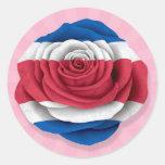 Bandera subió Rican de la costa en rosa Etiqueta Redonda