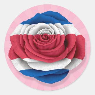 Bandera subió Rican de la costa en rosa Pegatina Redonda