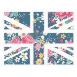 Bandera subió vintage de Union Jack Británicos Tarjetas Postales