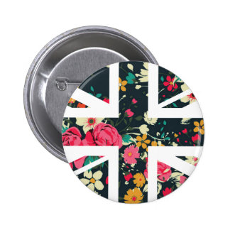 Bandera subió vintage oscuro de Union Jack Británi Pin Redondo 5 Cm