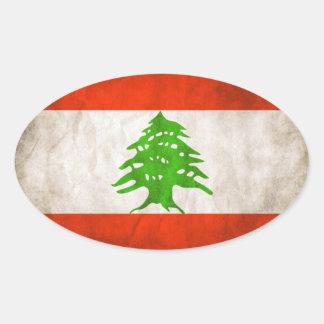 Bandera sucia de CUATRO Líbano Pegatina Ovalada