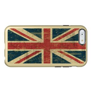 Bandera sucia de Union Jack de Reino Unido Funda Para iPhone 6 Plus Incipio Feather Shine