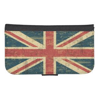 Bandera sucia de Union Jack de Reino Unido Funda Tipo Billetera Para Galaxy S4