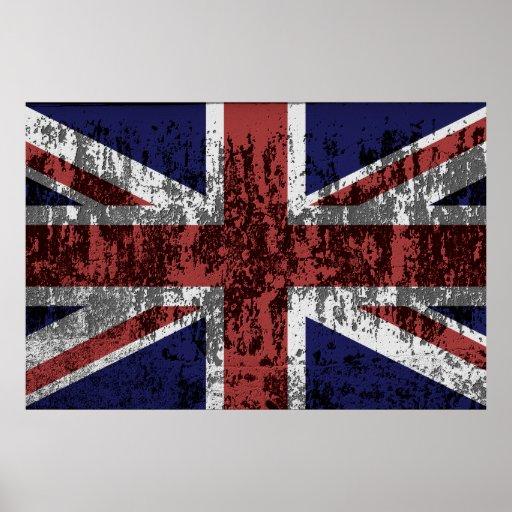 Bandera sucia de Union Jack Póster