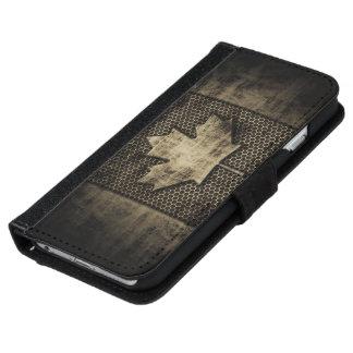 Bandera sucia del canadiense del metal funda cartera para iPhone 6
