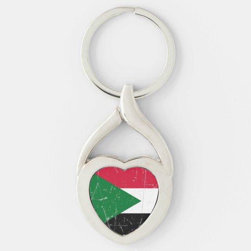 Bandera sudanesa rascada y rasguñada llaveros