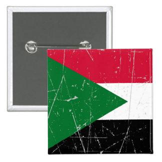 Bandera sudanesa rascada y rasguñada pin