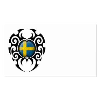 Bandera sueca agrietada tribal negra tarjetas personales