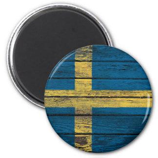 Bandera sueca con efecto de madera áspero del gran imán de nevera