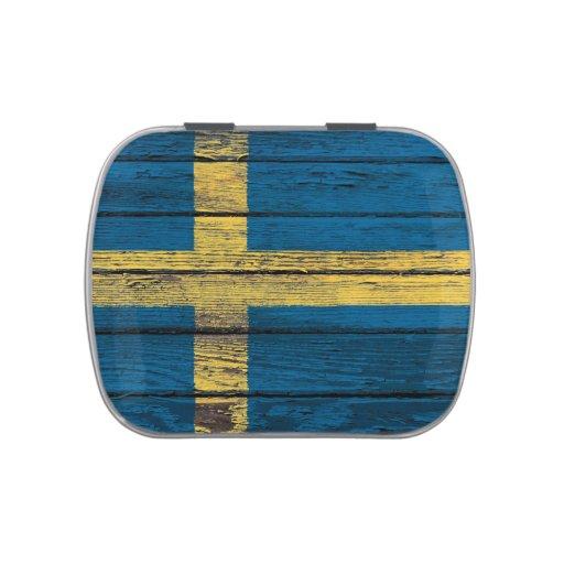 Bandera sueca con efecto de madera áspero del jarrones de caramelos