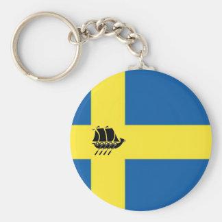 Bandera sueca con el escandinavo de la nave de llavero redondo tipo pin
