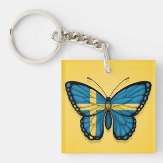 Bandera sueca de la mariposa en amarillo llavero cuadrado acrílico a doble cara
