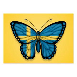 Bandera sueca de la mariposa en amarillo plantillas de tarjeta de negocio