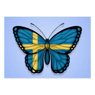 Bandera sueca de la mariposa en azul plantilla de tarjeta de negocio