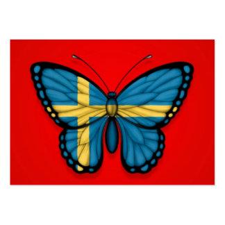 Bandera sueca de la mariposa en rojo tarjeta de visita
