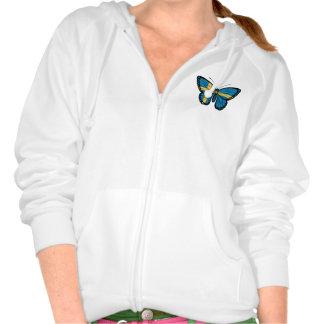 Bandera sueca de la mariposa pulóver con capucha