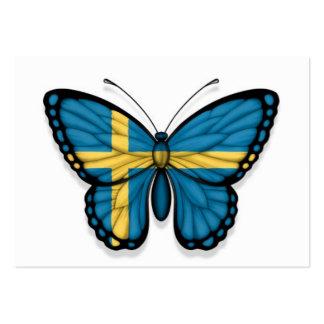 Bandera sueca de la mariposa tarjetas de visita