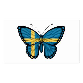 Bandera sueca de la mariposa plantillas de tarjetas de visita