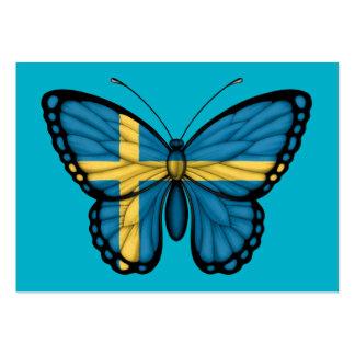 Bandera sueca de la mariposa plantillas de tarjeta de negocio