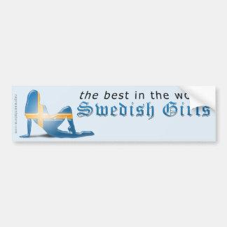 Bandera sueca de la silueta del chica pegatina de parachoque