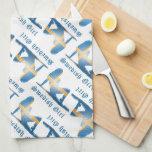 Bandera sueca de la silueta del chica toallas de cocina