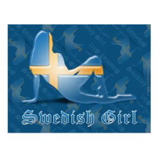 Bandera sueca de la silueta del chica tarjeta postal