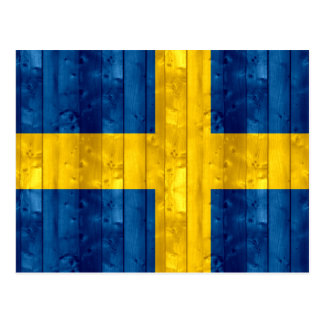 Bandera sueca de madera tarjeta postal