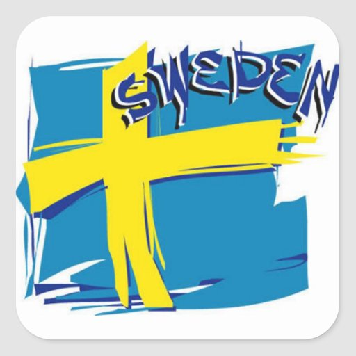 Bandera sueca de SFX Pegatina Cuadrada