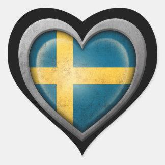 Bandera sueca del corazón con efecto del metal pegatinas de corazon