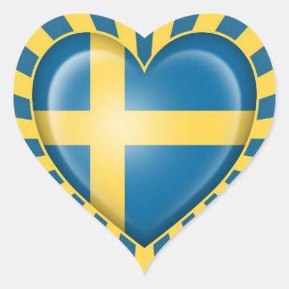 Bandera sueca del corazón con la explosión de la e pegatinas corazon personalizadas