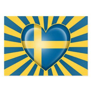 Bandera sueca del corazón con la explosión de la e tarjetas de visita