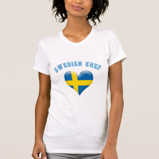 Bandera sueca del corazón del cocinero del poleras