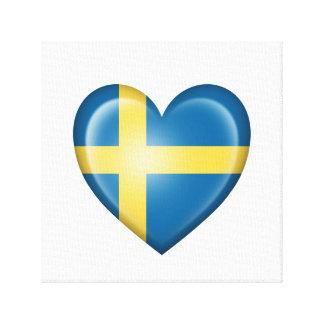 Bandera sueca del corazón en blanco lona estirada galerias