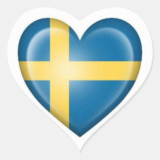 Bandera sueca del corazón en blanco pegatina corazón personalizadas