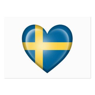 Bandera sueca del corazón en blanco tarjeta de visita