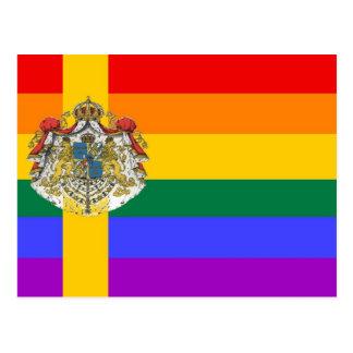 Bandera sueca del orgullo de GLBT Tarjeta Postal