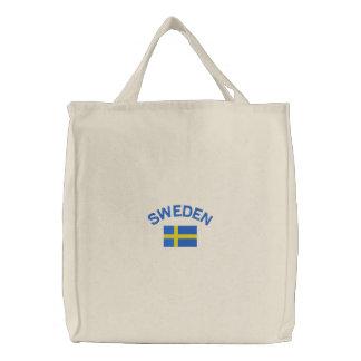Bandera sueca en azul y amarillo bolsas de mano bordadas