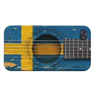 Bandera sueca en la guitarra acústica vieja iPhone 4 cárcasa