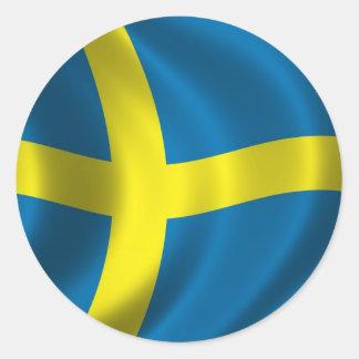 Bandera sueca etiqueta redonda